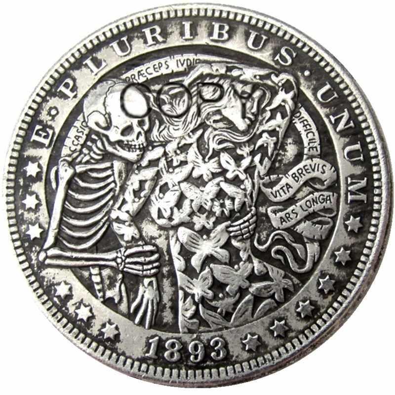 Hb (63) Ons Hobo 1893 Morgan Dollar Skull Zombie Skeleton Verzilverd Kopie Munten