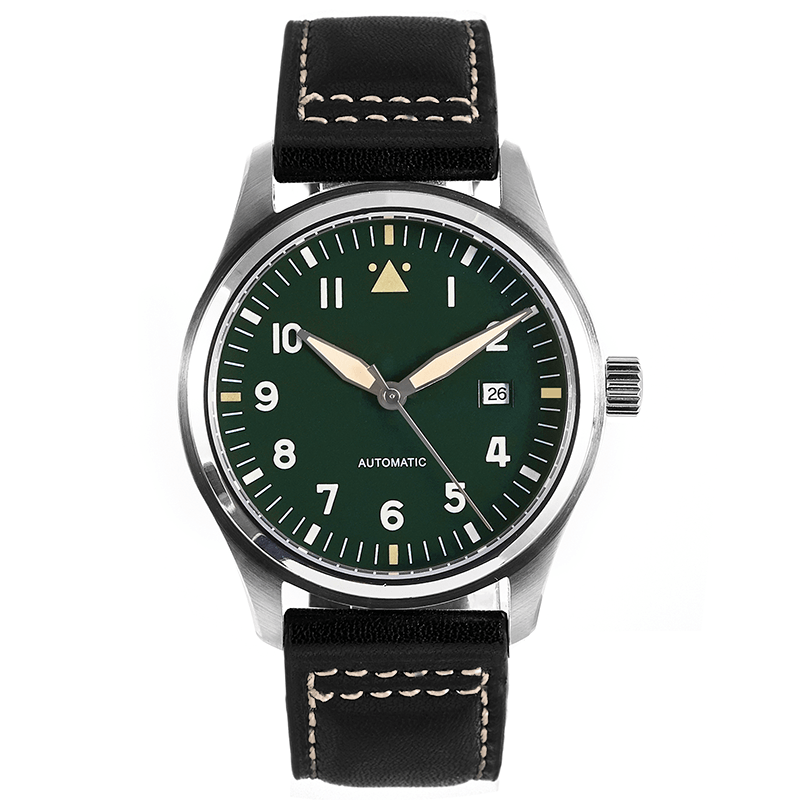 42mm Green Dial Spitfire Pilot Watch 5ATM JAPAN MIYOTA Automatic Domed Sapphire Crystal Lumed Genuine Leather Strap