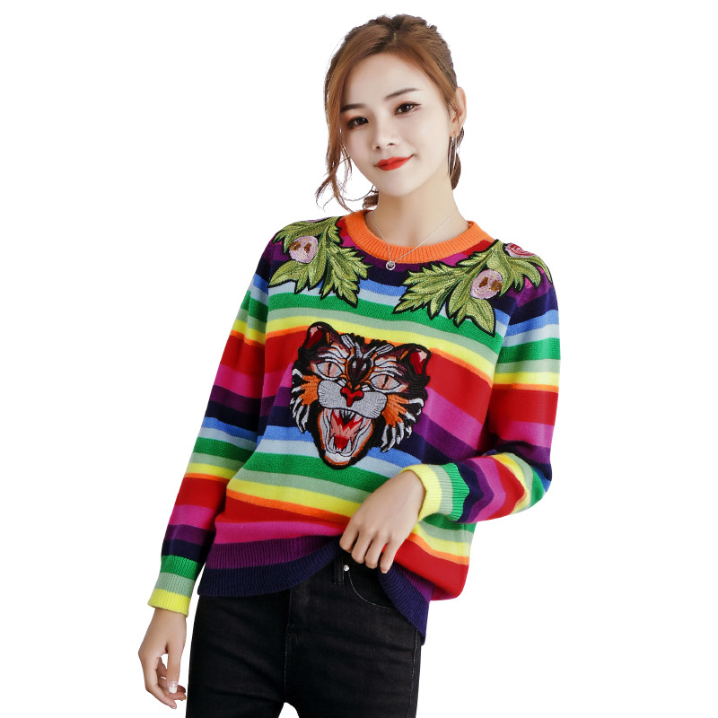 NiceMix  Color Striped Sweaters Women Tops Tiger 2019 Fashion Streetwear Pullovers And Sweater Femme Pull Stripe Jumper Rainbow