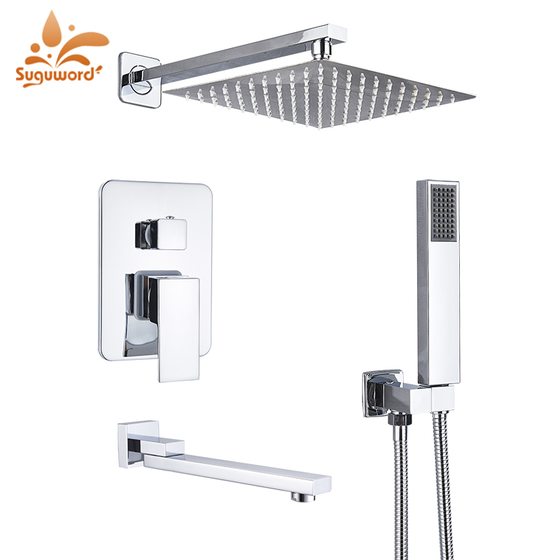 H358e562e02c042f982ccff43ff00b7c6h Suguword Chrome Concealed Bathroom Shower Faucet Set 8''10''12''16'' Rainfall Shower Head Wall Mounted Hot and Cold Mixer Tap