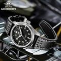 Addies Механические погружения 200 м часы для Для мужчин кожа сапфировое стекло Бизнес Для мужчин пилот Часы NH35 автоматические часы автоматичес...