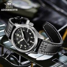 Addies mergulho mecânico 200m relógio para homem couro safira cristal relógio piloto de negócios nh35 automático relógios