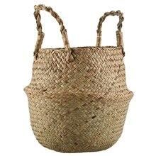 Seagrass плетеная корзина из ротанга Складной Подвесной Цветочный Горшок Кашпо тканая грязная корзина для хранения белья корзина Декор для дома Размер
