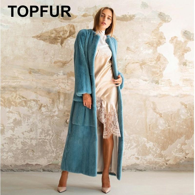 TOPFUR 2019 mode bleu manteau Long hiver réel manteau de fourrure femmes vison naturel manteau de fourrure avec ceinture Femme vêtements de sport x-long solide