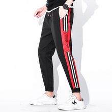 Men Gyms Joggers Sweatpants Mens Waist Rope Printing Stretch Trousers Magic Sticker Streetwear Casual