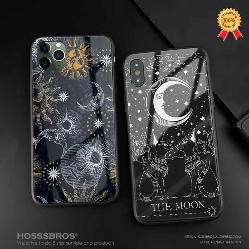 Heksen Maan Tarot Mystery Totem Glas Zachte Siliconen Telefoon Case Cover Shell Voor Iphone Se 6 6 S 7 8 plus X Xr Xs 11 Pro Max