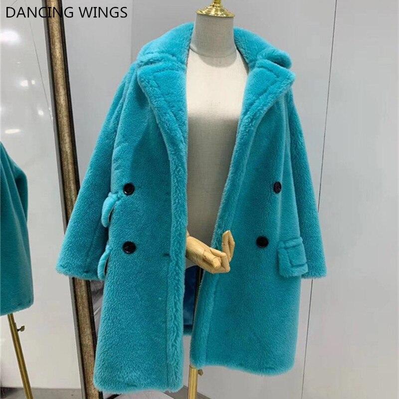 2019 Winter New Fashion Womens Teddy Bear Coat Real Wool Sheep Fur Long Coats Jacket Thick Warm