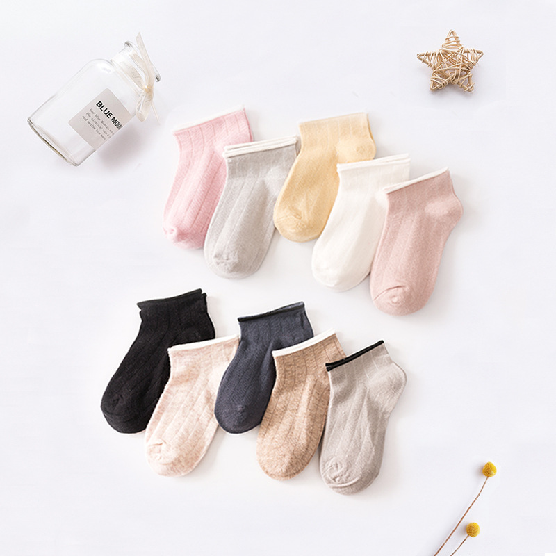 Spring And Summer Children's Socks New Style Solid Color BOY'S Girls No-show Socks Thin Combed Cotton Sweat Absorbing BABY'S Soc