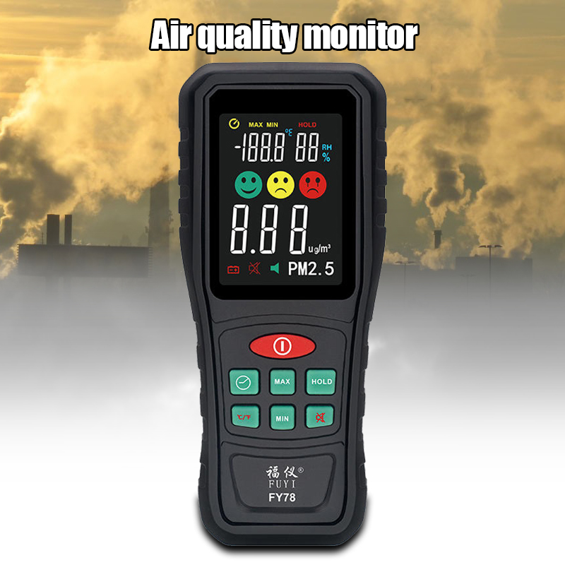PM2.5 Detector Air Quality Testers Handheld Portable Smog Particle Monitor Meter FY78 PUO88