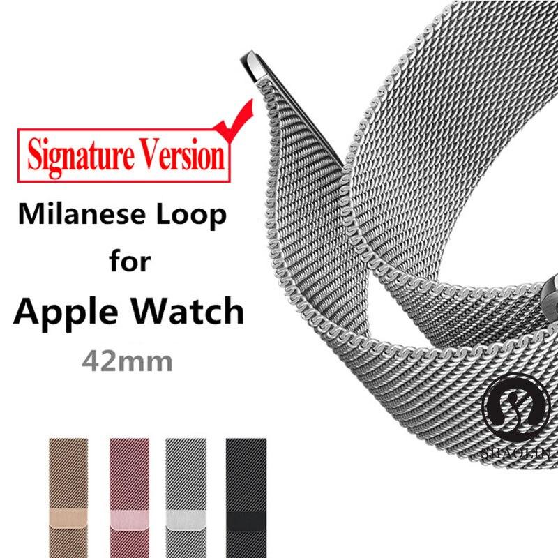 Tüketici Elektroniği'ten Akıllı Aksesuarlar'de Milanese döngü kayışı için Apple saat bandı pulseira apple Watch 4 5 3 band 42mm/40mm izle 5 42mm correa watchband bilezik title=