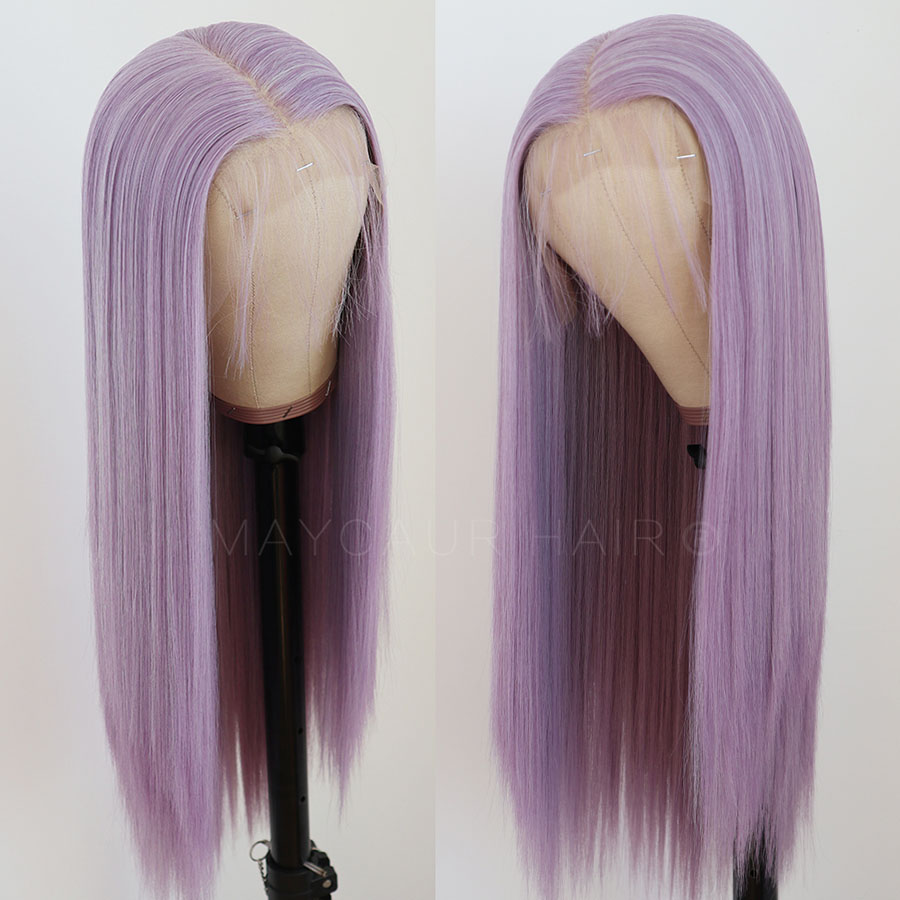 13x6 Long Straight Synthetic Lace Front Wigs For Black Women Light Baby Purple Color Lace Wigs With Natural Hairline 22 Inches