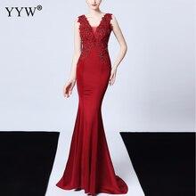 Женское вечернее платье с аппликацией, Элегантное Длинное Сетчатое платье русалка без рукавов с глубоким v образным вырезом и открытой спиной, вечернее платье