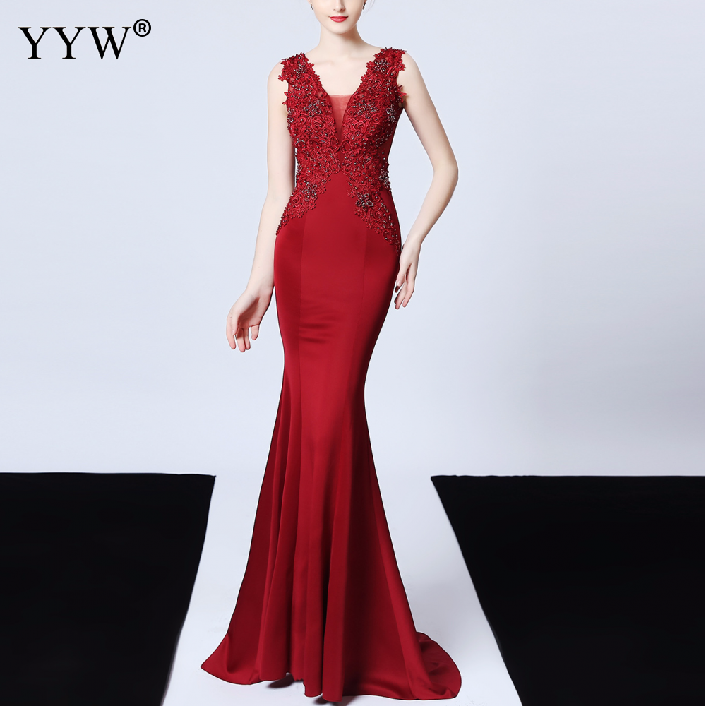 Sexy Deep V Neck Applique   Evening     Dress   Women Mesh Backless Mermaid   Dress   Sleeveless Elegant Long Party   Dress   Ladies Formal Gown
