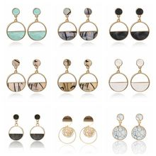 Korean Version Of The New Pearl Earrings Cute Simple Geometric Round Marble Female Bride Wedding Charm Jewelry 2019