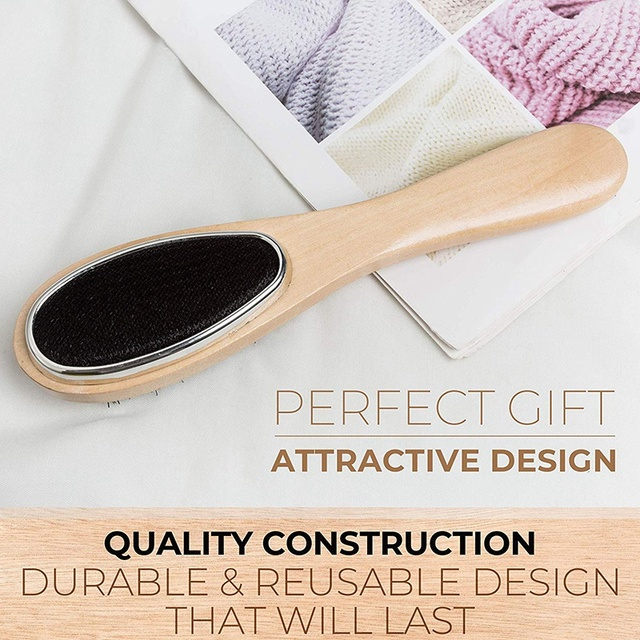 Lint Brush , Clothes Brush and Shoe Horn, Lint Brush for Clothes (Wooden), Professional Suit Brush for Men, Coat Fabric Brush fo 3