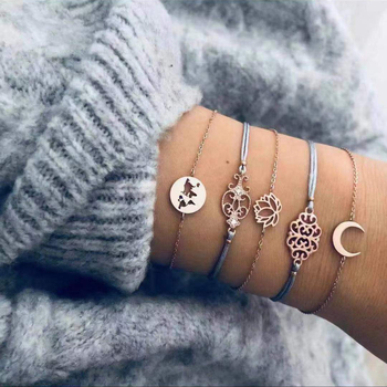 20 Styles Women Girls Mix Round alloy Crystal Marble Charm Bracelets Fashion Boho Heart Shell Letter Bracelets Sets Jewelry Gift 24