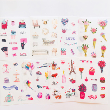 8 Sheets Love Story Wedding Accessories Paper Sticker Notebook Computer Phone Hand Account Decoration - discount item  25% OFF Stationery Sticker