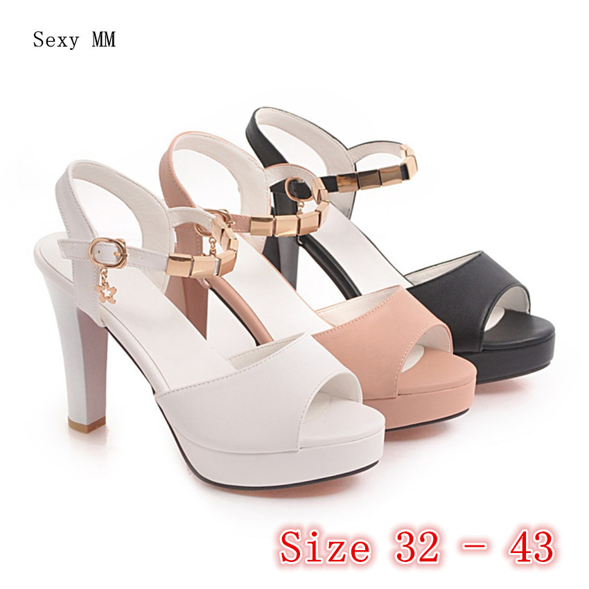 Summer Pumps Women Peep Toe High Heels Platform Gladiator Sandals Party Woman High Heel Shoes Plus Size 32 33 - 40 41 42 43