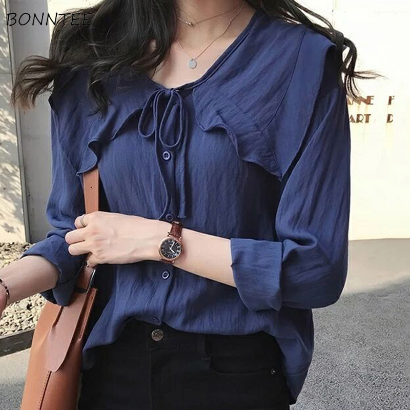 Shirts Women New Fashion Korean Style Loose Chiffon Solid Simple Womens All-match Bow Peter Pan Collar High Quality Trendy 2020