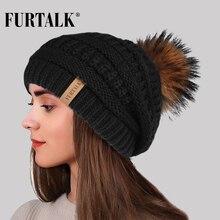 FURTALK Winter Beanie Hat Women Real Fur Pompom Slouchy Knitted Ladies Stretchy Chunky Warm Bobble Skullies Cap 2019