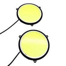 1/2Pcs 12V DC 90mm Car Running Lamps DRL Daytime Lights  Round Shape White LED Waterproof Light