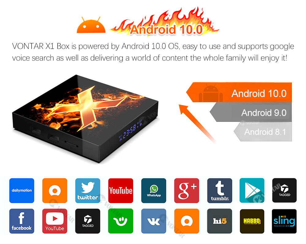 2020 VONTAR X1 Smart tv box android 10 4g 64gb 4K 1080p 2.4G&5G Wifi BT5.0 Google Voice Assistant Youtube TVBOX Set Top Box