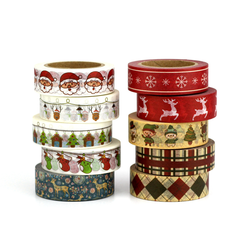10M Snow Reindeer Christmas Tree Snowman Santa Claus Decorative Washi Tape Set Scrapbooking Masking Tape School Office Supply