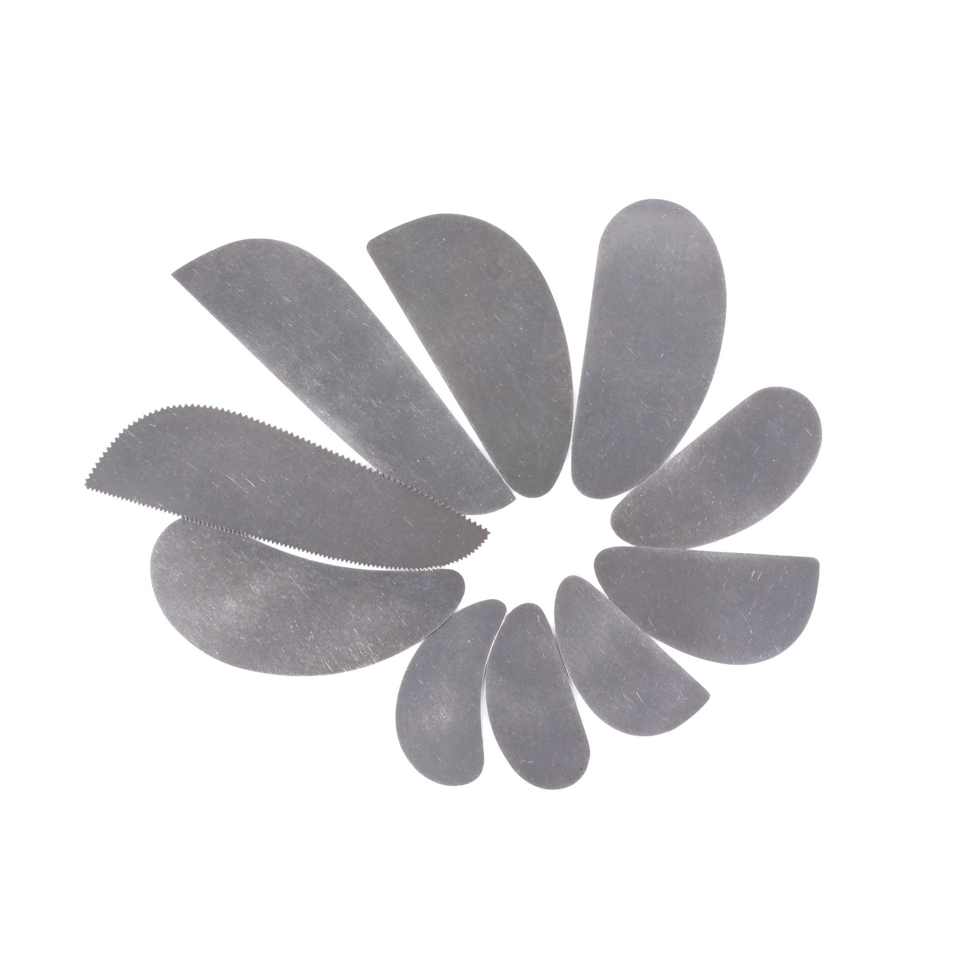 10pcs Ceramic Pottery Polymer Clay Tools Long Paisley Stainless Steel Ribs Art Supplies