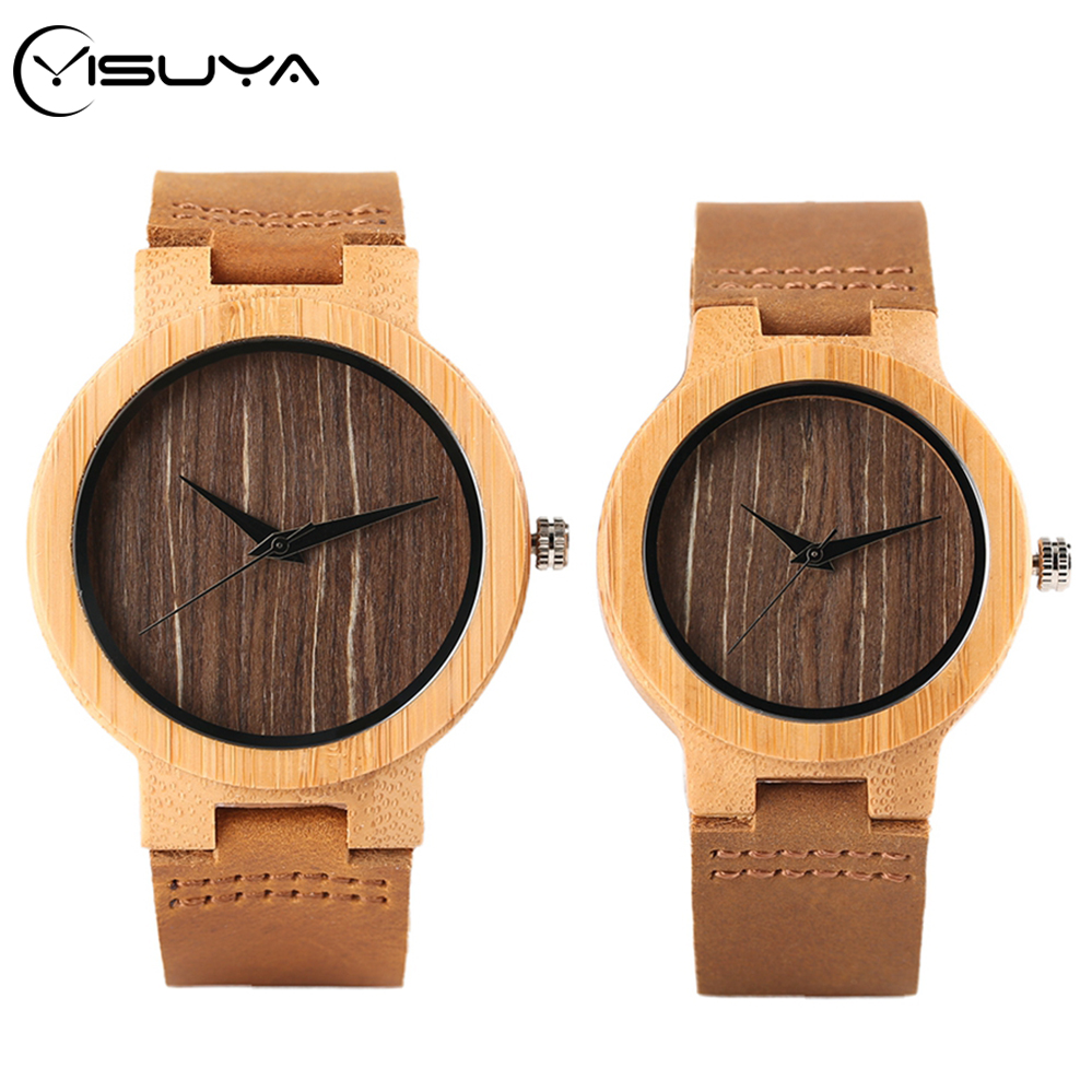 YISUYA Wood Quartz Wristwatches Man Minimalist Retro Coffee Dial Bamboo Women Dress Clock Genuine Leather Lovers Valentine Gift