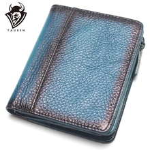 Natural Leather RFID Blocking Mens Top Layer Brushed Wallet Handmade Retro Pure Coin Purse
