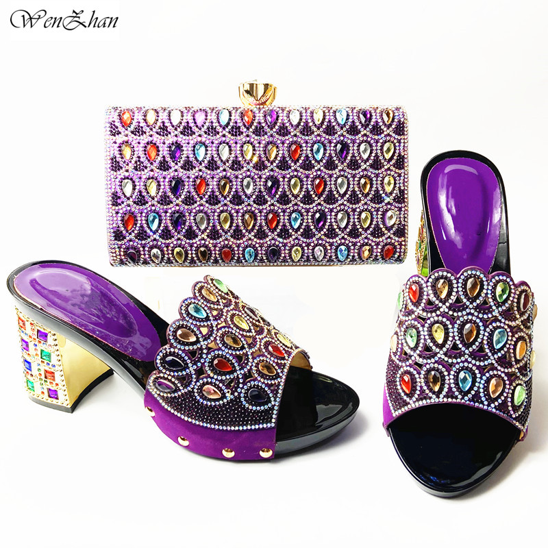African Woman Shoes and Bag Purple Color Shoes and Bags To Match Set Italy Women Shoes and Bag Slip on Women Party Pumps A911-25