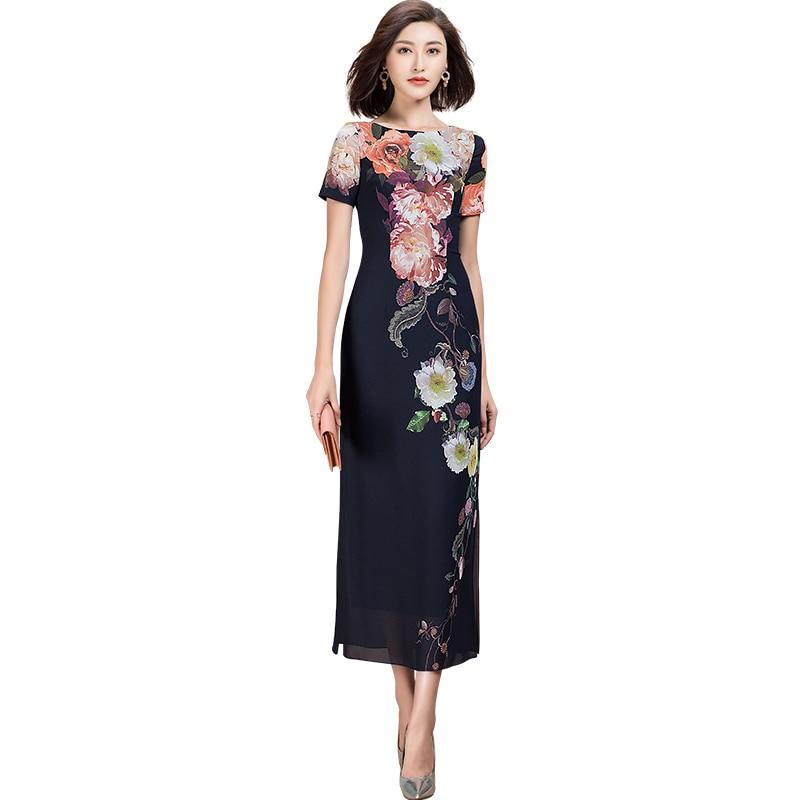 Moda rahat bayan kısa kollu çiçek baskı elbise