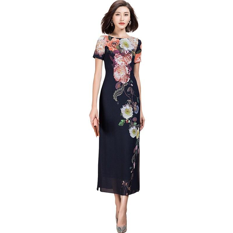 Moda casual womens curto sleev vestido de impressão floral