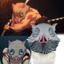 קוטלת שד Kimetsu לא Yaiba קוספליי Hashibira Inosuke מסכת חזיר בר מסכת לטקס למבוגרים ליל כל הקדושים מסכות תלבושות אבזר