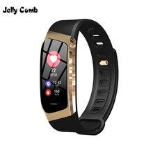 Jelly pente masculino relógio inteligente para android ios pressão arterial exercício dinâmico monitor de freqüência cardíaca contagem passo smartwatch para mulher