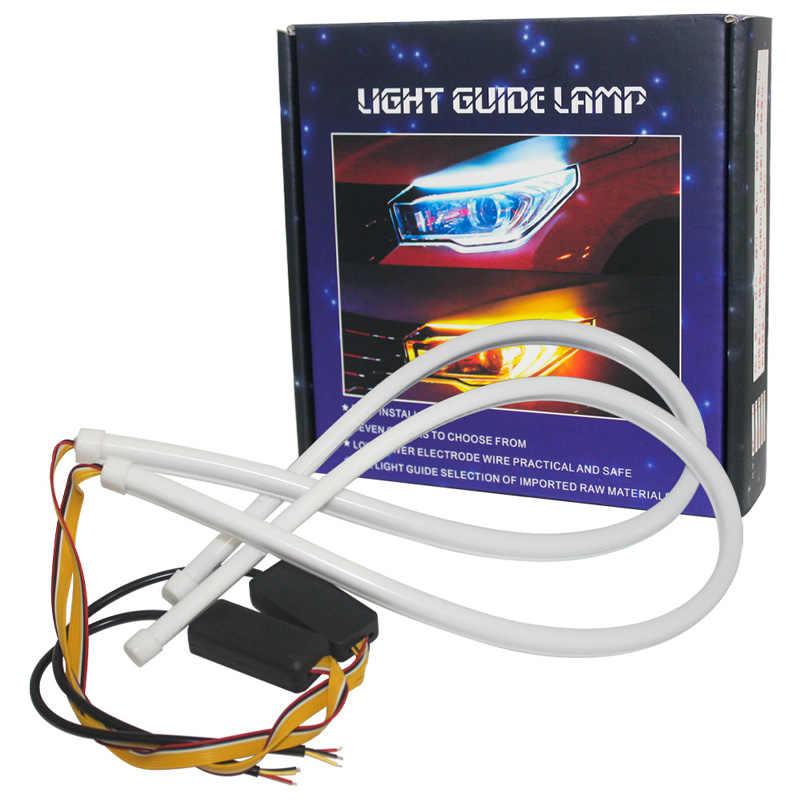 2 قطعة DRL المتدفقة LED قطاع سيارة تشغيل ضوء مصابيح LED عيون 30 سنتيمتر 45 سنتيمتر 60 سنتيمتر أنبوب قطاع النهار تشغيل أضواء مرنة LED