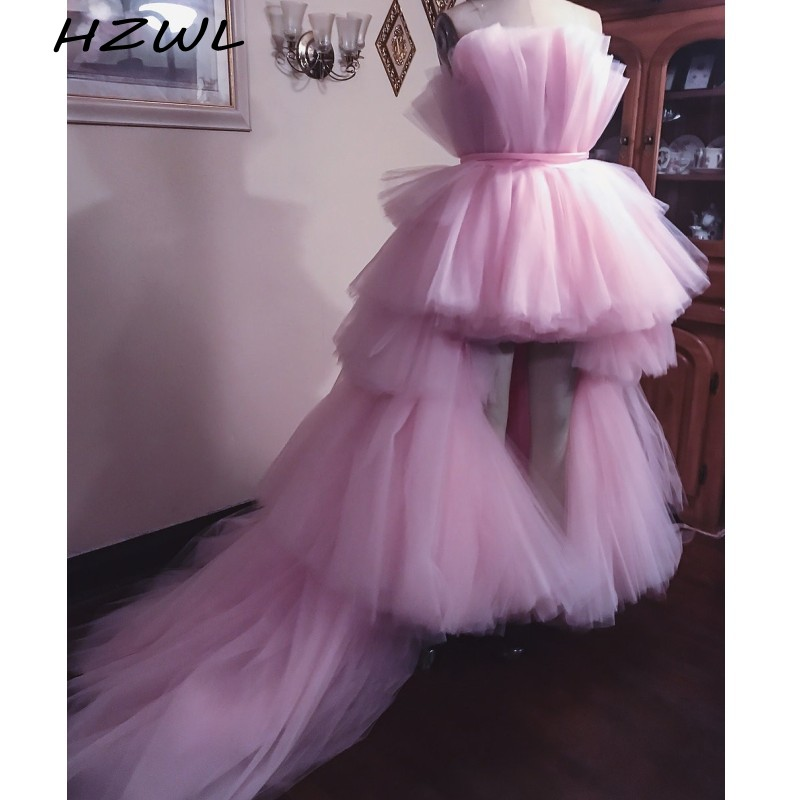 High Low Robe De Soiree Pink Party Dresses Strapless Tulle Puffy Cocktail Party Dress Tiered Custom Made Cheap Prom Dress