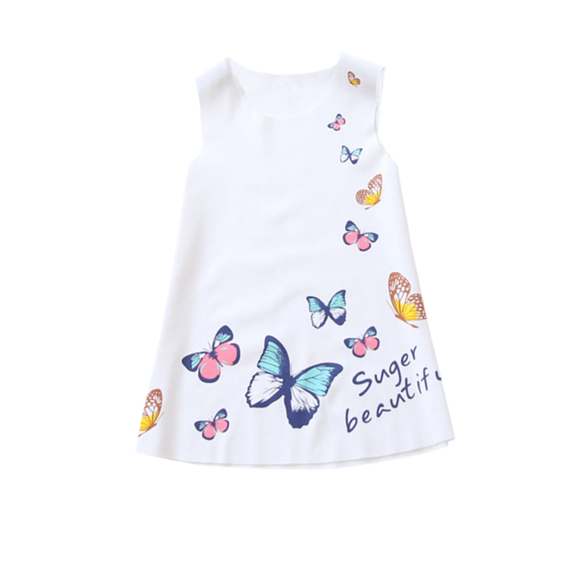 Baby Cotton Above Knee Dress Summer Style Princess Dress  Baby Butterfly Dress Mini Party Dresses Girls Sleeveless Clothing