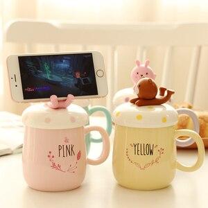 Image 1 - Ousirro tasses créatives pour Couple en céramique, tasses de dessin animé danimaux, tasse à café, lait, tasse, couvercle, cuillère