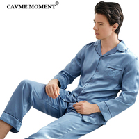 CAVME 100% Silk Sleepwear for Men Luxury Father Pajama Set Homme Homeclothes Full Pants Nightwear Solid Color 2 Pieces PLUS SIZE