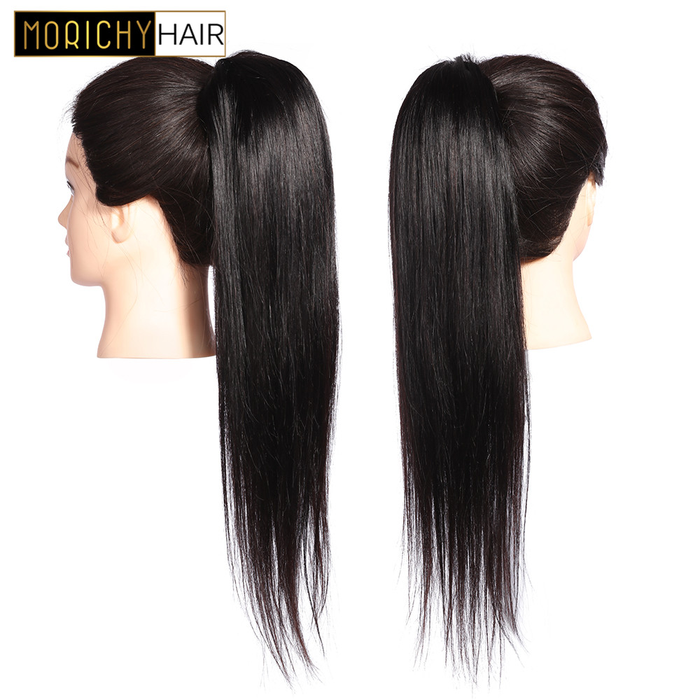 Straight Ponytail Human Hair Extensions Drawstring Ponytail with Clips in For Women Brazilian Remy Hair Pieces