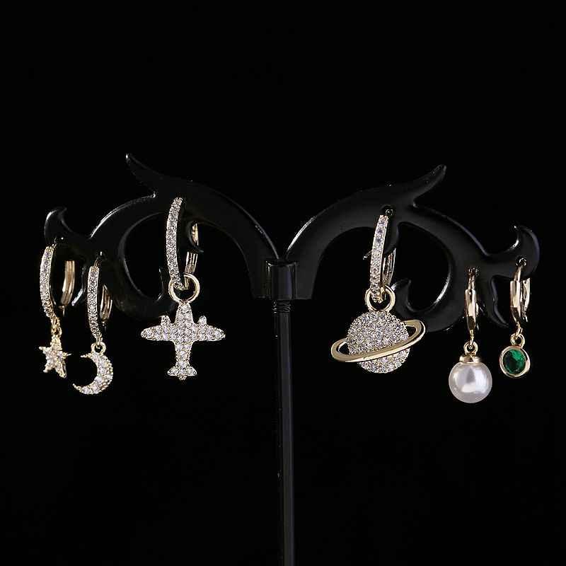 MIGGA nouveau Design femmes boucles d'oreilles goutte ensemble couleur or Micro cubique zircone pavé avion étoile lune pendentif boucles d'oreilles