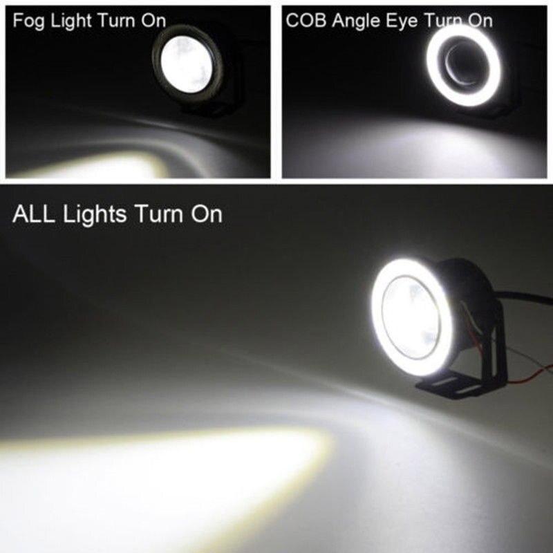 2pcs Car COB 1200LM 30W Light LED Fog Light White Angel Eye DRL Driving Projector Signal Bulbs Fog Lamps Auto Tuning Car Lamp 2
