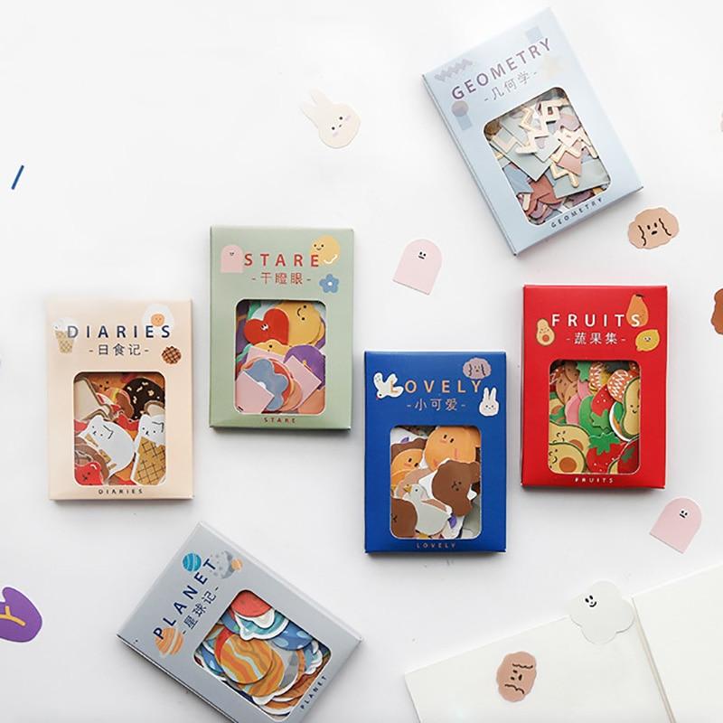 100pcs/box Cute Food Bread Paper Stickers Japanese Stationery Stickers Kawaii Flower Sticker Decorat