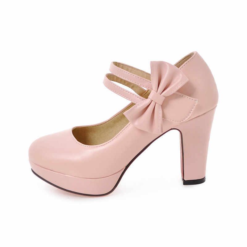 Odetina Kadın Platformu Ayak Bileği Kayışı Yay Mary Jane Ayakkabı Blok Yüksek Topuk Tatlı Kız Elbise Pompaları parti ayakkabıları Ilmek Artı Boyutu 46