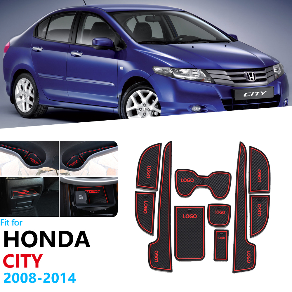 Anti-Slip Rubber Gate Slot Cup Mat For Honda City 2008 2009 2010 2011 2012 2013 2014 GM2 GM3 MK5 Accessories Car Stickers