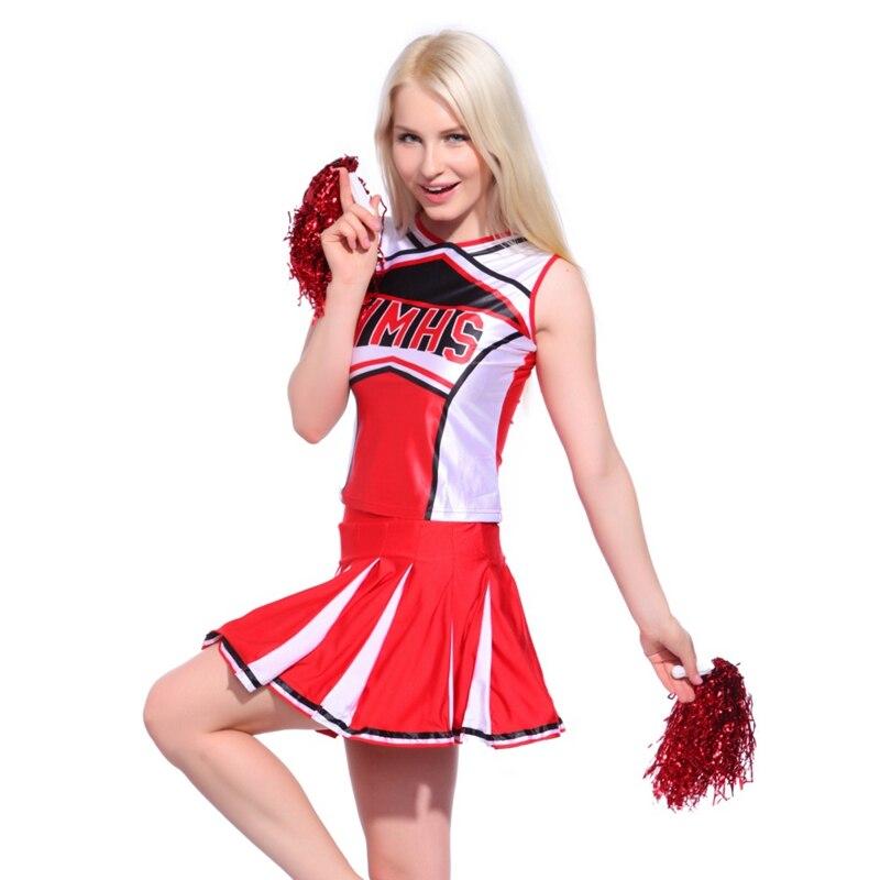 Ladies Sexy Tank Top Petticoat Pom Cheerleader 2 Pcs Suit High School Girls Cheer Musical Glee Baseball Cheerleader Fancy Dress