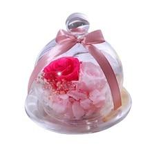 Украшение для свадебной вечеринки, креативный подарок на день Святого Валентина, вечный цветок со стеклянной крышкой, Подарочная коробка, Роза для дома