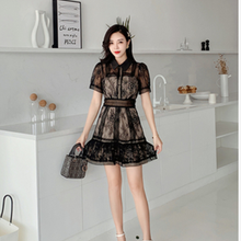 2021 New Summer Women Black Lace Patchwork Mesh Perspective Mini Dresses Clothes Large Size Slim Party Vestidos Feminino