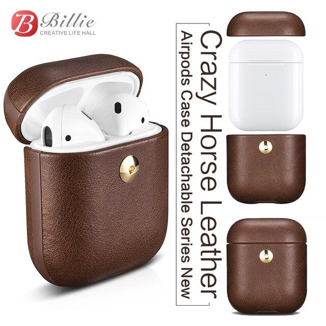كريزي هورس حقيبة جلدية لأبل إيربودس بلوتوث اللاسلكية سماعة حافظة جلدية غطاء ل الهواء القرون 2 غطاء شحن صندوق حالات
